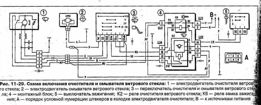 """Схема подключения мотора стеклоочистителя. стеклоочиститель, омыватель, """"дворники"""""""