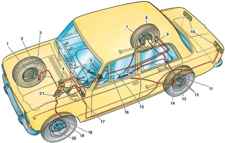 Схема подключения тормозных трубок ваз 2109