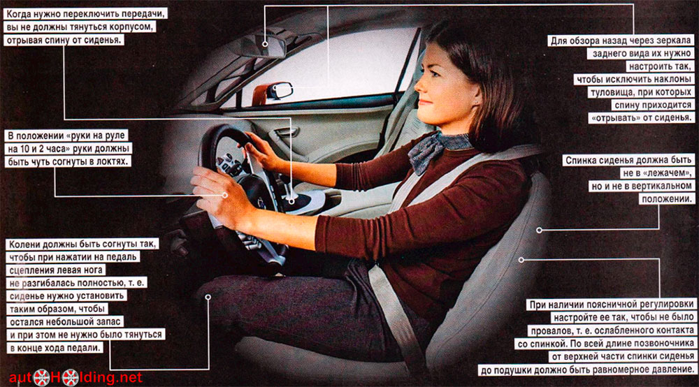 Правильная посадка за рулем автомобиля. ошибки посадки за рулем