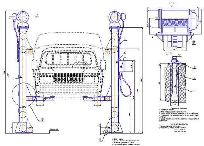 Автоподъемник своими руками: виды и конструкции, подготовка чертежей и инструментов