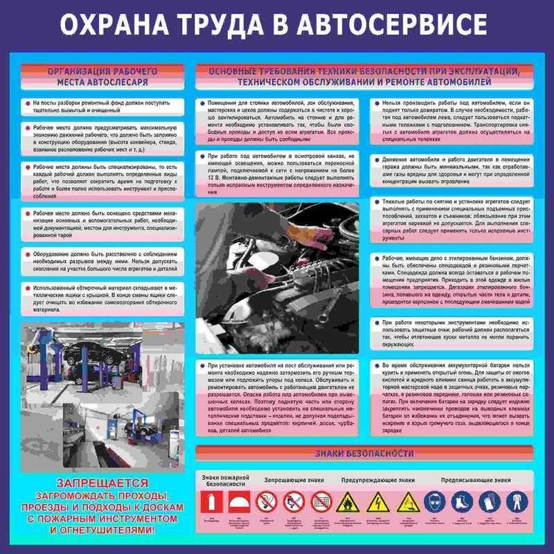 Техника и правила безопасности при ремонте и обслуживании автомобиля